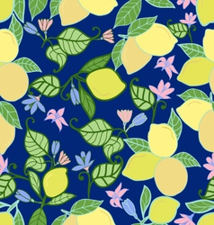 lemons with leaves seamless pattern on blue backg vector image