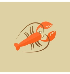 Lobster food flat icon vector