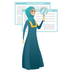 Muslim business woman with magnifying glass vector