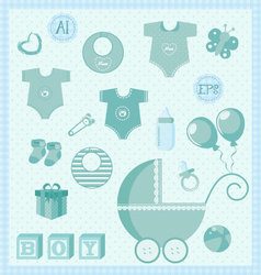 new born baby boy set vector image vector image