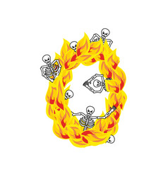 Number 0 hellish flames and sinners font fiery vector