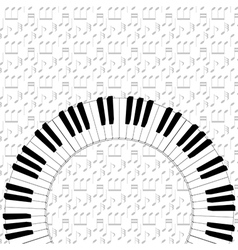 Piano keyboard on note backgorund vector
