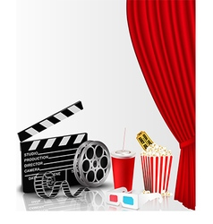 Red curtain and film object with popcorn vector image