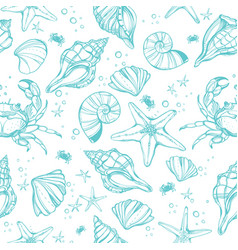Sea shell beautiful linear marine life seamless vector