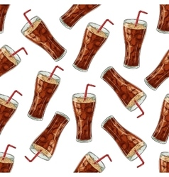 Seamless pattern cola scetch and color vector image