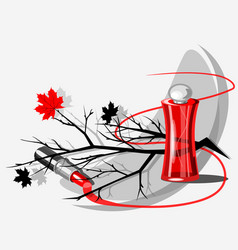 Still life with a bottle of perfume vector