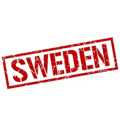 Sweden red square stamp vector image vector image