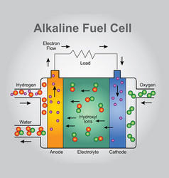 The alkaline fuel cell technologies infographic vector