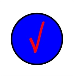 Tick red sign in blue circle vector image