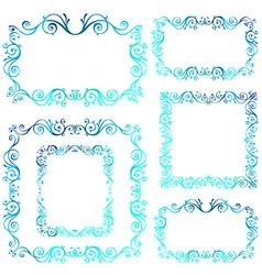 Vintage ornamental frames Blue calligraphic winter vector image
