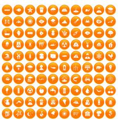 100 earth icons set orange vector