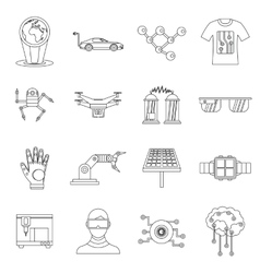 New technologies set outline style vector