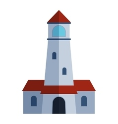 Cartoon flat lighthouse vector