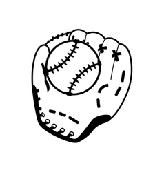 Ball glove baseball sport design vector