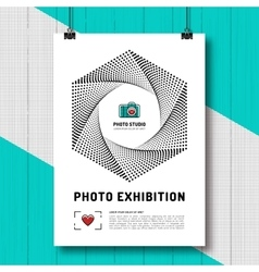 Photo exhibition design template poster or flyer vector
