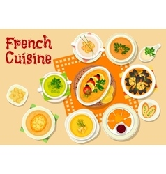 French cuisine soups and snack dishes icon vector