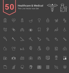 Healthcare and medical thin icon set vector