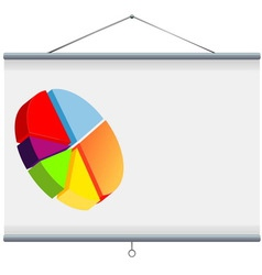 Projector screen with pie chart vector