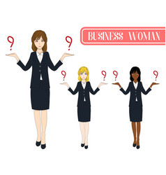 business woman selection with serious face vector image