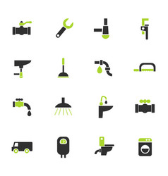plumbing service icon set vector image
