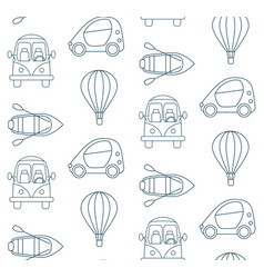 seamless pattern made of cartoon linear transport vector image