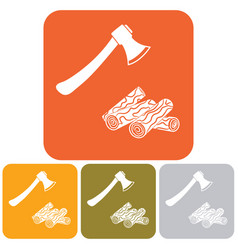 The ax and firewood icon vector