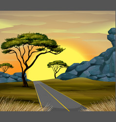 Scene of road at sunset vector
