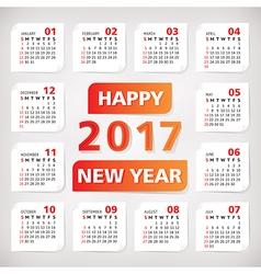 2017 year simple office calendar vector