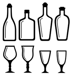 Isolated bottles and alcohol glass set vector