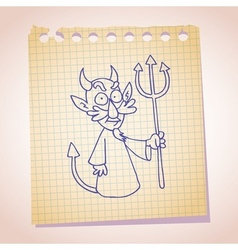 Devil character note paper sketch vector