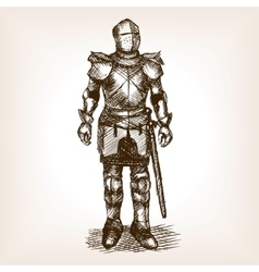 Knight armour and sword sketch vector