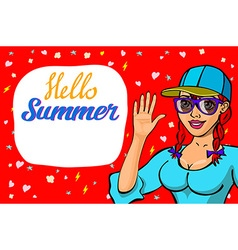 Lettering hello summer greeting card girl waving vector