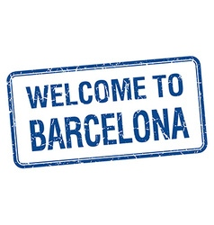 Welcome to barcelona blue grunge square stamp vector
