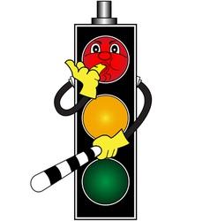 Cartoon red traffic light vector image