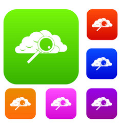Cloud with magnifying glass set collection vector