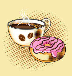 Coffee and donut pop art vector