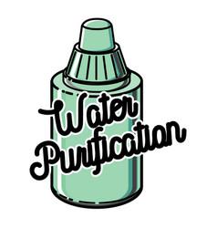 color vintage water purification emblem vector image