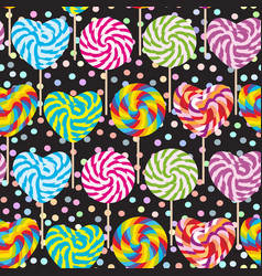 Colorful seamless pattern candy lollipops spiral vector