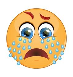 Emoticon crying vector image vector image