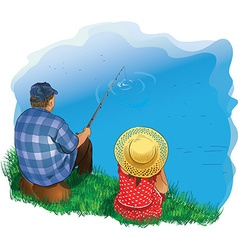 Family fishing vector