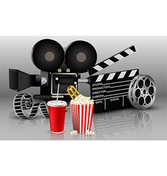 Films with popcorn and drink vector