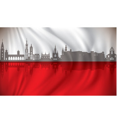 flag of poland with krakow skyline vector image