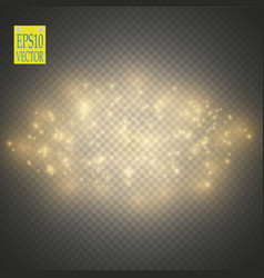 Gold glitter wave gold star dust trail sparkling vector