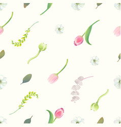 Gorgeous seamless pattern with floral elements vector