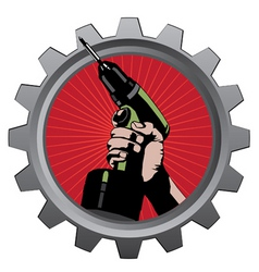 hand with drill in metal badge vector illustration vector image
