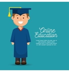 Happy boy student education online design vector
