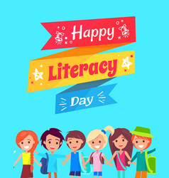 Happy literacy day congratulation postcard vector