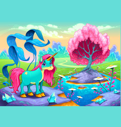 happy unicorn in a landscape of dreams vector image