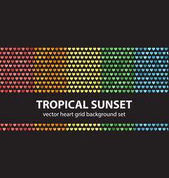 heart pattern set tropical sunset seamless vector image