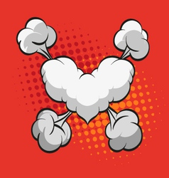 Heart shape boom clouds vector